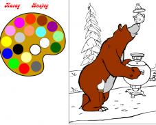 Медведь готовиться к чаепитию