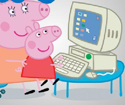 Свинка Пеппа за компьютером пазл
