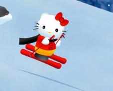 Хэлло Китти на лыжах