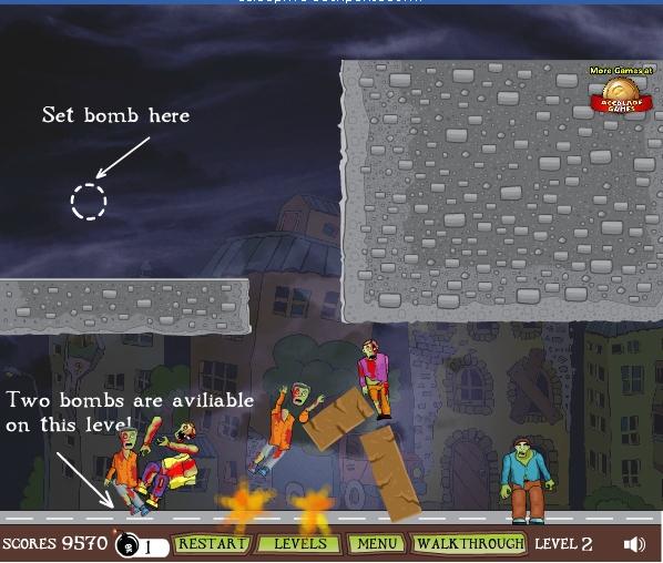 Игра Взрываем зомби онлайн