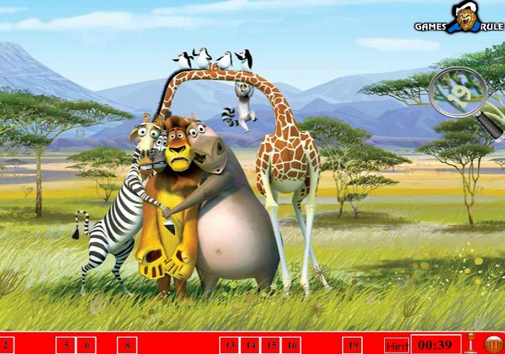 Игра Мадагаскар поиск предметов онлайн