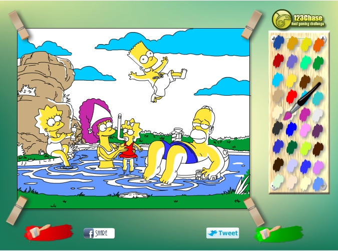 Игра Раскраска Симпсоны на отдыхе онлайн