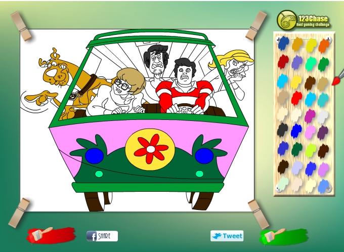 Играть бесплатно в флеш игру Раскраска Скуби Ду - играй онлайн