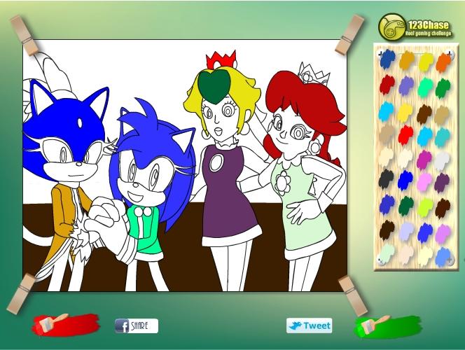 Играть бесплатно в флеш игру Раскраска Соник - играй онлайн