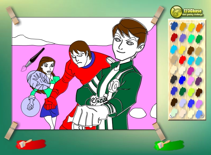 Игра Раскраска команды Бен Тена онлайн
