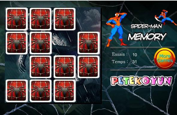 Игра Тренировка памяти — Человек Паук онлайн