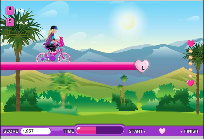 Игра Велотрек Сердечки онлайн