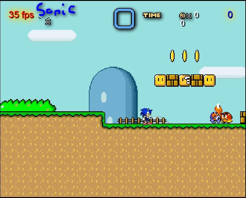 Игра Sonic in Mario World 2 онлайн