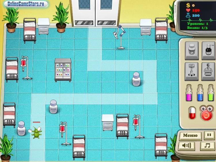 Игра Вирусы: Защита поликлиники онлайн