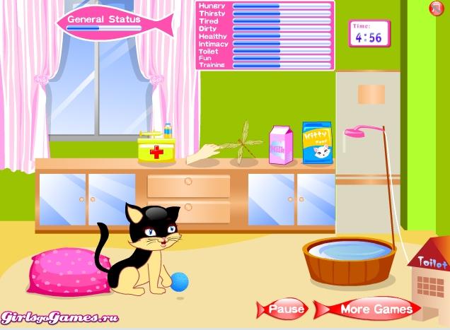 Игра Ухаживать за котёнком онлайн