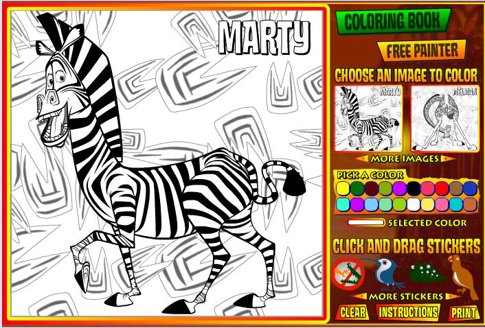Игра Раскраска мадагаскар - играй онлайн
