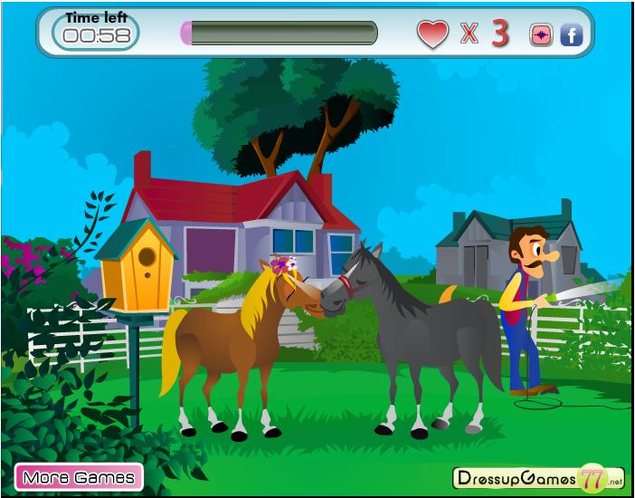 Игра Поцелуй лошадей онлайн