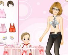 Игра Одевалка ребенок и мама онлайн