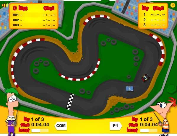 Игра Гонки Фитнеса и Ферба на автомобилях онлайн
