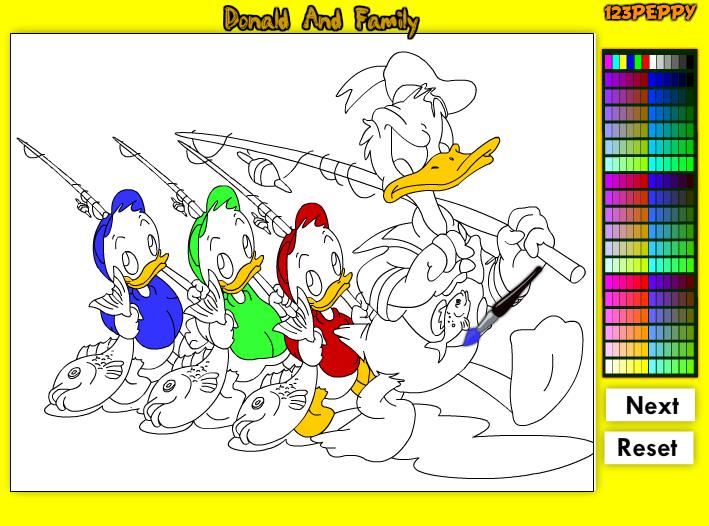 Игра Дональд и Семейные Раскраски онлайн