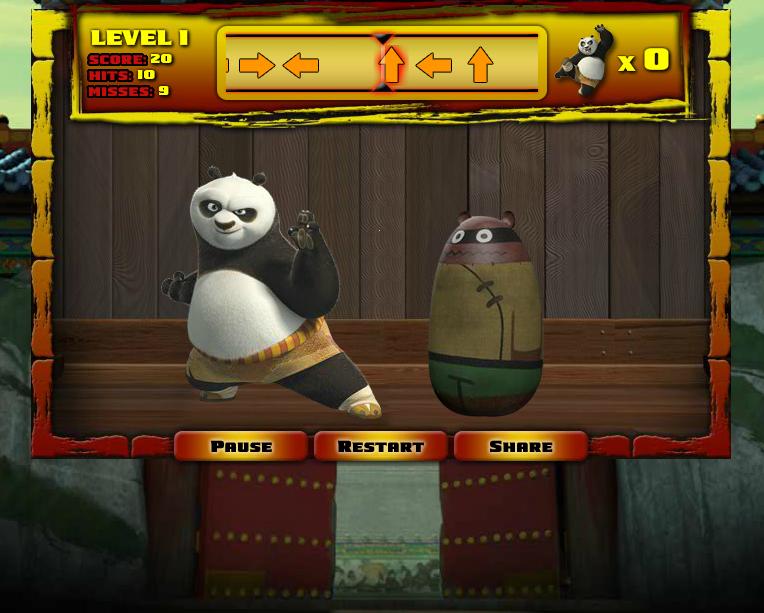 Игра Кунг Фу Панда на тренировке онлайн