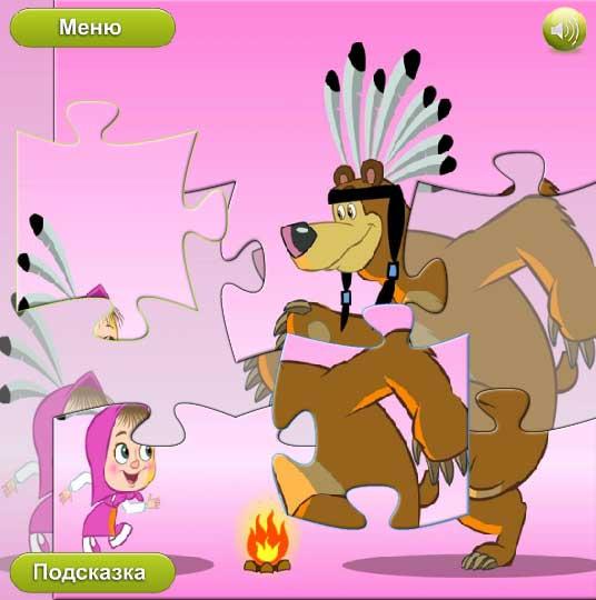 Игра Маша и медведь — магические пазлы онлайн