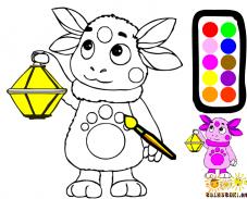 Игра Раскрась Лунтика с фонарём онлайн