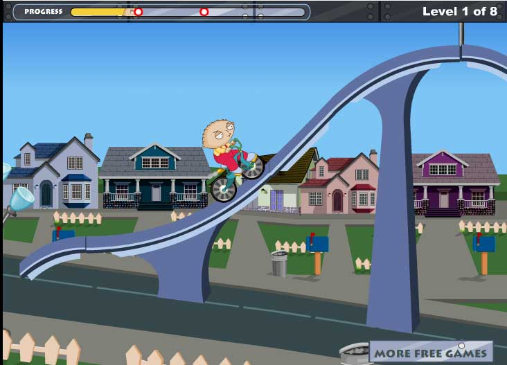 Игра Стьюи на велосипеде онлайн