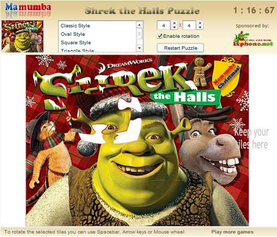 Игра Шрек Рождественский Пазл онлайн