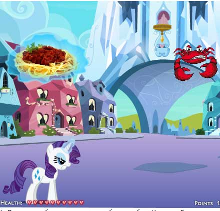 Игра Пони Рарити борется с нашествием крабов онлайн