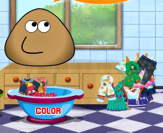 Игра Поу стирает одежду онлайн