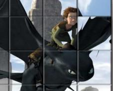 Игра Как приручить дракона поворотный пазл онлайн