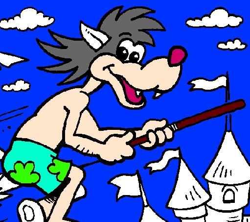 Игра Волк на метле раскраска онлайн