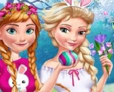 Игра Веселая Пасха Анны и Эльзы онлайн