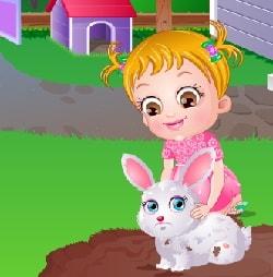Игра Хейзел Заботится о Кролике  купать в ванной и кормить Бенни онлайн