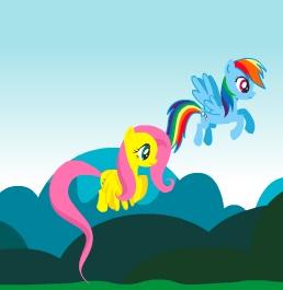 Игра Пони на Двоих: Радуга Дэш и Флаттершай онлайн